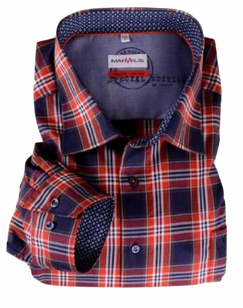 Navy-Red Check Spread Collar