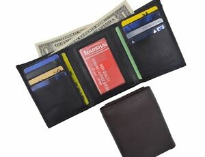 Men-039-s-Genuine-Leather-Trifold-Credit-Card-ID-Window-Holder-Black-Wallet-Gift-New