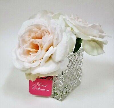 Alerta 3 Artificial Melocotón + Blanco Rosa Abierta Seda Flowers-real Apariencia + A FabricacióN HáBil