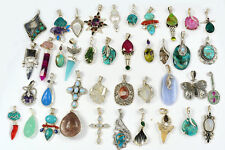 252g Wholesale Lots of 40 925 Silver Pendants Handcrafted Gemstone Jewelry XGP25