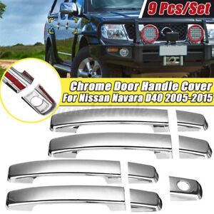 9x/Set Chrome Outer Door Handle Cover Trim ABS For Nissan Navara D40