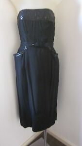 1950-s-black-linen-wiggle-dress-with-black-sequinned-topMeasures-36-039-around-bust