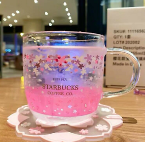 New Starbucks Glass Cup Color-changing Pink Sakura Coffee Cup With Coaster Rod