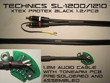 TECHNICS SL-1200 / 1210 AUDIO Phono RCA Cavo con TONEARM PCB Protex Nero 1,2 m