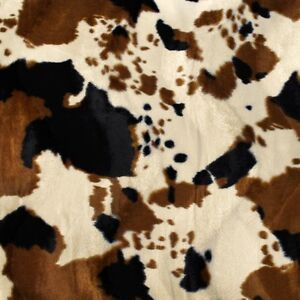 Brown Tan Cow Velboa Faux Fur Fabric Sold By The Yard