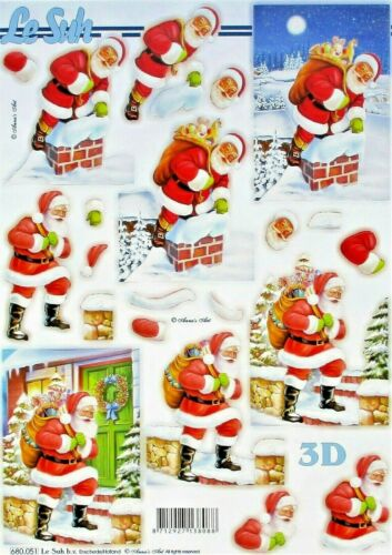 Die Cut 3D A4 PAPER TOLE DECOUPAGE Father Christmas Presents Chimney 680.051