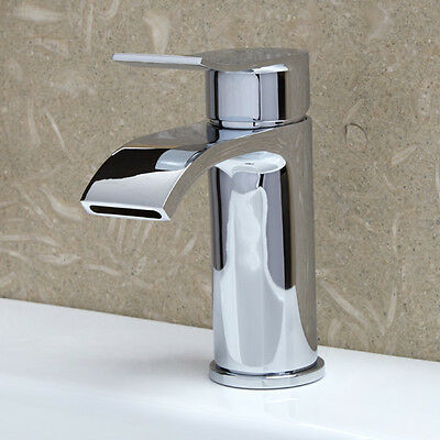 Curved Solid Brass Modern Chrome Basin Mono Mixer Bathroom Single Lever Sink Tap