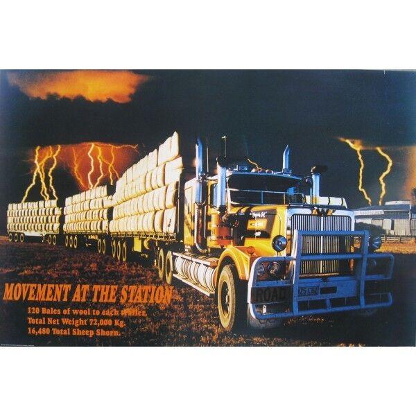 ROAD TRAIN POSTER - WESTERN STAR WOOL TRUCK - 3 TRAILERS - 91 x 61 cm 36