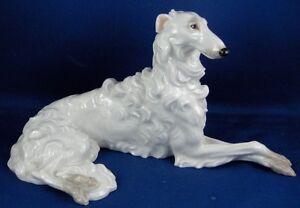 Augarten-Vienna-Porcelain-Russian-Borzoi-Dog-Figurine-Porzellan-Figur-Hund-Wien