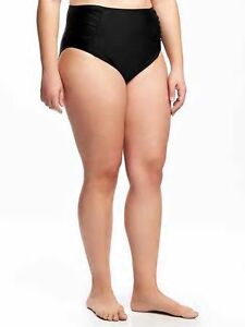 0cb9318815 Details about Old Navy Women's Ebony Black High Waist Ruched Bikini Bottom  Size 1X