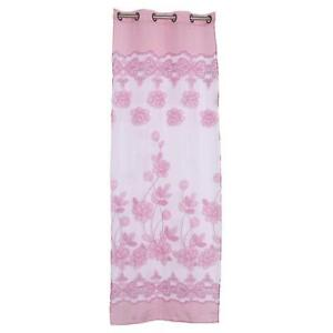 Rideaux-Voilages-Anciens-Lin-Fleur-Decoration-Fenetre-250x100cm-Rose-Clair
