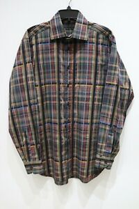 ETRO-SPA-long-sleeve-button-up-plaid-cotton-shirt-made-in-ITALY-men-039-s-size-41