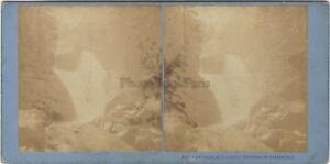 Cascade Del Cerisey, Cauterets Francia Foto Stereo Vintage Albumina Ca 1870