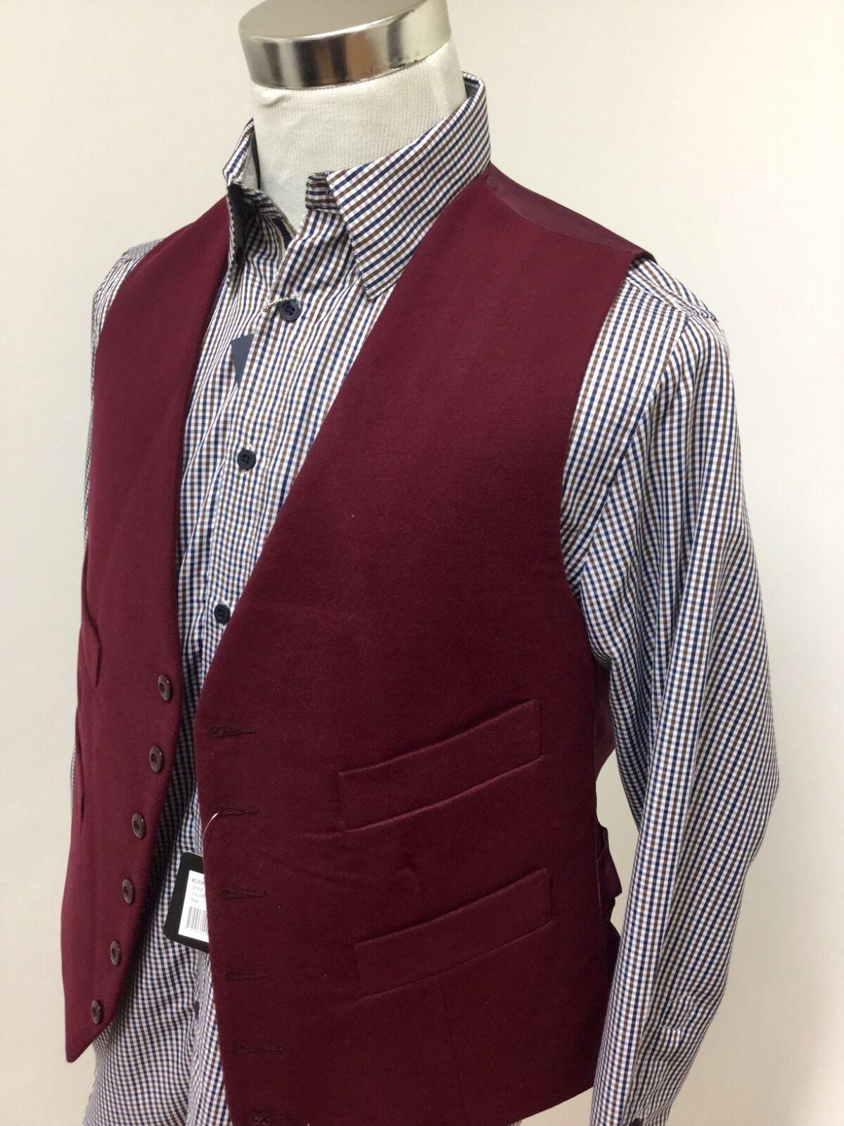 Mens moleskin waistcoat (3XL) wine red RRP .99 country shooting hunting 3XL