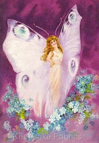 Purple Fairy & Forget Me Nots Fabric Applique Multi Szs