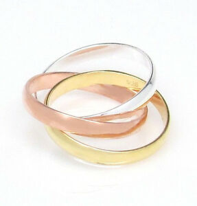 1cbac8266 Tri Color Interlocking Three 3 Band Rolling Ring Rose Gold Silver 6 ...