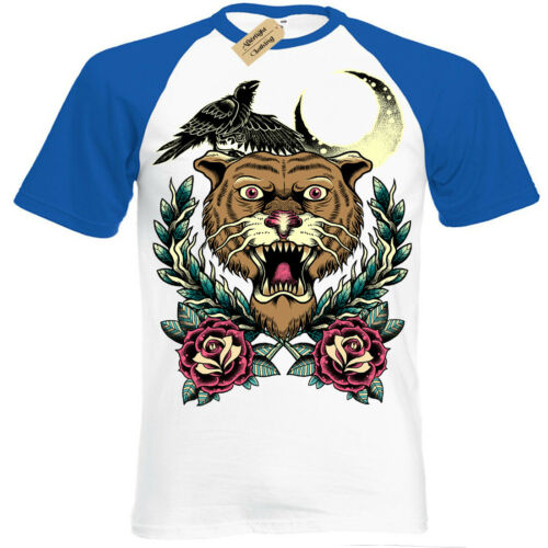 Tiger Tattoo T-Shirt rose crow raven moon crescent Short Sleeve Baseball