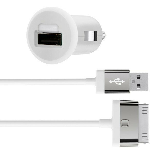 Belkin MIXIT iPhone 4S 4 iPad 3 2 1 iPod Fast 2.1Amp/10W Car Charger/Cable White