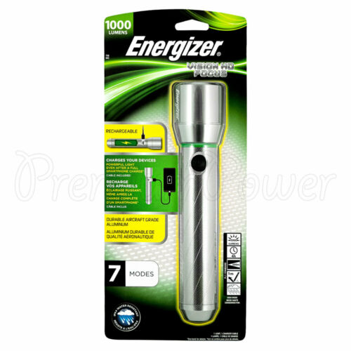 Energizer 1000 Lumens Flashlight Vision HD Focus Rechargeable Light Metal