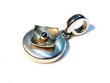 Bijou alliage argenté pendentif bicolore  Pierre Lang pendant