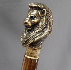 """Bon CœUr """"heavy Bronze Lion"""" Canne Bâton De Marche Fait Main Exclusif Poignée 450 G-afficher Le Titre D'origine"""