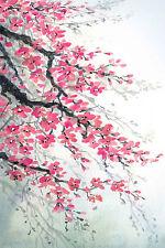 Impresionante resumen japonés Floral Lona agua #772 flores de color pared Arte