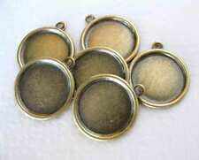 Antiqued Brass Setting Cameo Round Frame Vintage Style 13mm