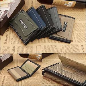 Stylish-Men-039-s-Canvas-Wallet-Pocket-Card-Money-Holder-Clutch-Purse-Wallet