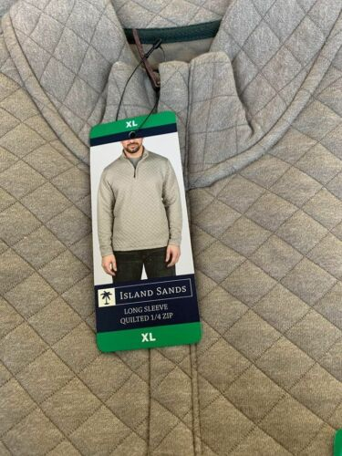 D44 VARIETY Island Sands Men/'s 1//4 Zip Long Sleeve Quilted Pullover NEW