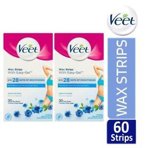 2 x Veet Bikini & Underarm Hair Removal 30 Wax Strips Sensitive Skin 60 Strips