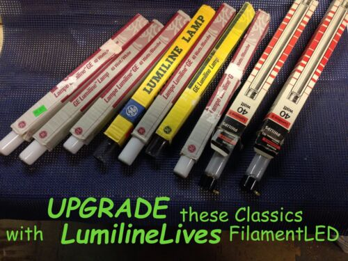 """NOT Your Fathers LUMILINE~100W Equal RETRO~FilamentLED~17.75/""""~Clear~vintage~15W"""