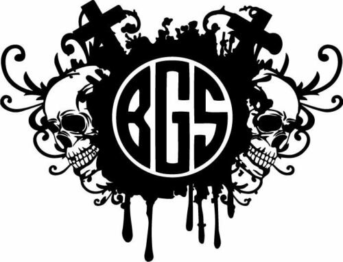 Skulls Monogram Custom Initials Decal Window Bumper Sticker Car Goth Crosses