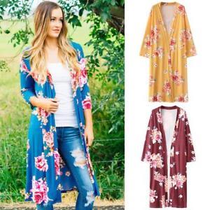 f82605f8e4 Women Summer Floral Beach Boho Cover Up Long Kimono Cardigan Jacket ...
