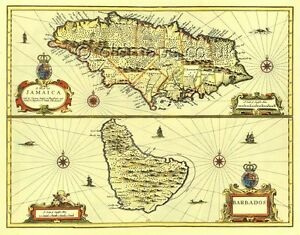 Jamaica & Barbados Replica 17c. John Speed Old Map Full Size PRINT ...