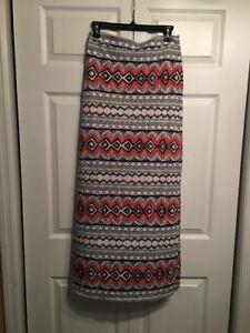 NWOT Fireworks Red White Blue Maxi Skirt Chatoyant  Rayon//spandex Small