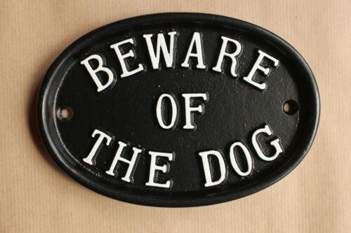 Large beware of the dog signe avertissement noir fonte style antique jardin warn - 06-bl