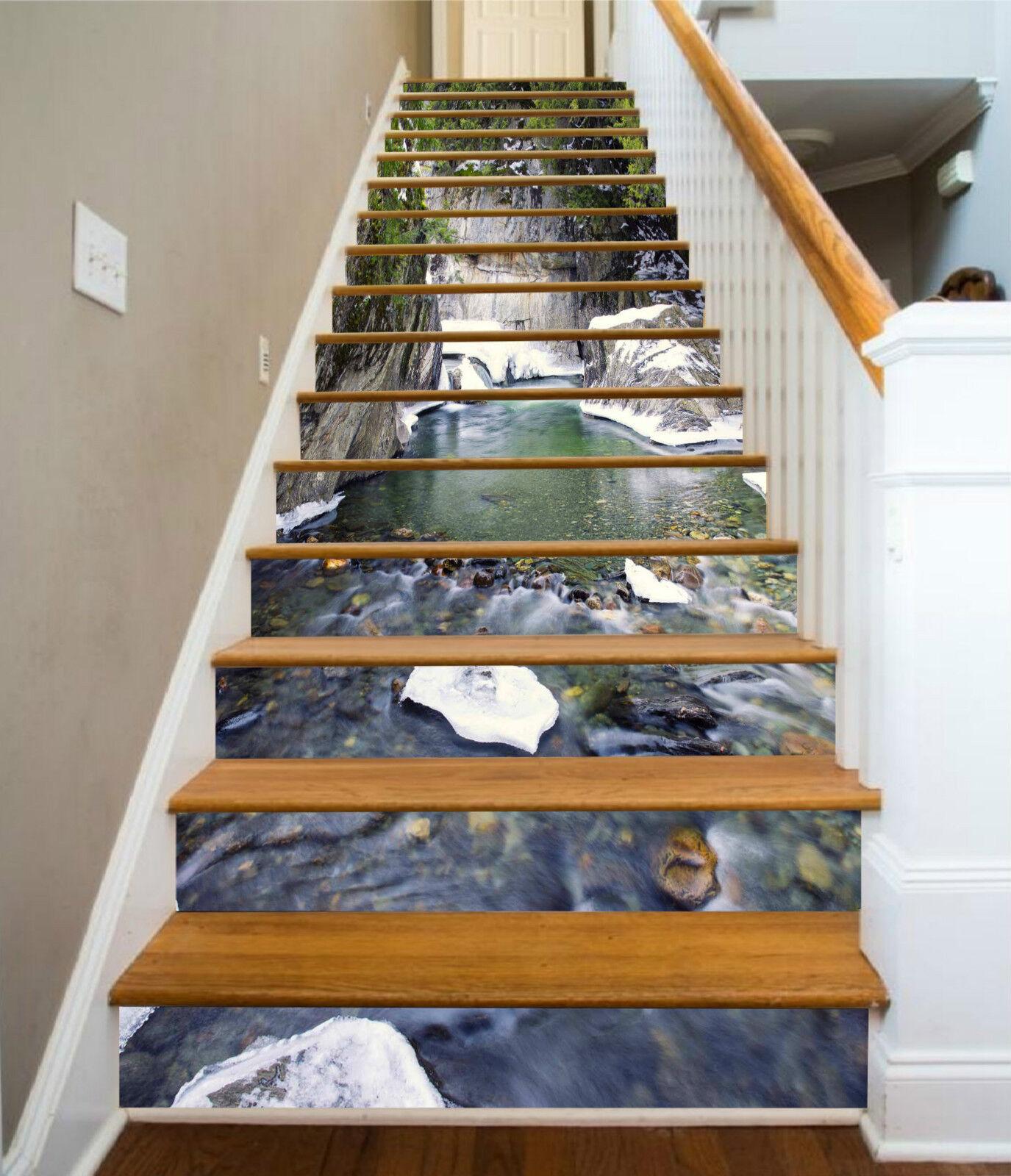 3D Gebirge Fluss 56 Stair Risers Dekoration Fototapete Vinyl Aufkleber Tapete DE