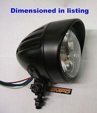 """Custom Matt Black Peaked Bullet 4"""" Small 90mm Lens Headlight Bobber Cafe Racer"""