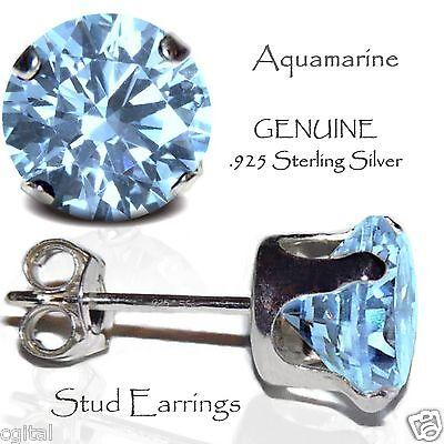 Sterling Silver 8mm Aquamarine Coloured March Birthstone Stud Earrings Jewellery