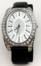 MELANIA TRUMP Crystal Inlaid & Genuine BLACK Leather Band Watch