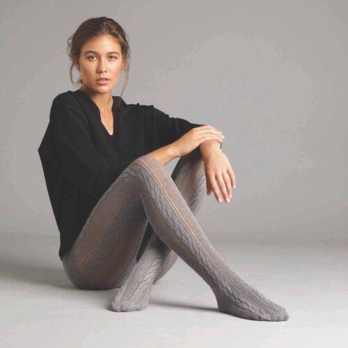 Jonathan Aston Women/'s Cable Knit Stripe Tights Cotton 1 Pair. Grey JAWA