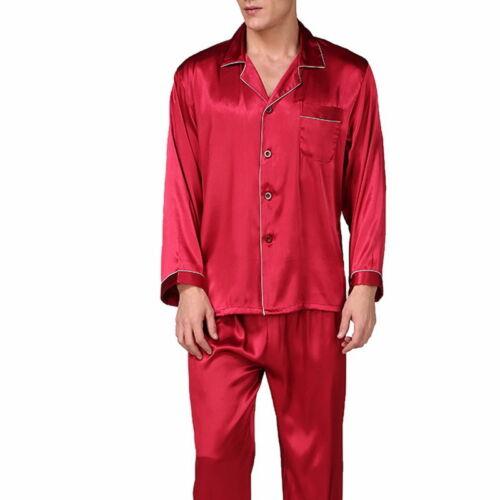 Herren Pyjama Schlafanzug Seide Langarm Hemd Lang Hose Nachtwäsche Nachthemd P//D
