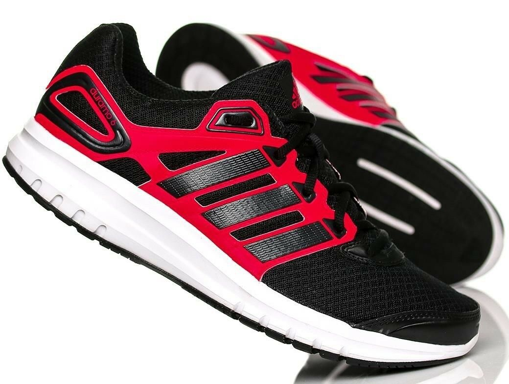 Adidas Mens Duramo 6 Trainers Sneakers Shoes - B40945 - Black / Red