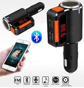 Bluetooth-Car-MP3-Player-Cigarette-Lighter-Dual-USB-FM-Socket-Splitter-Charger