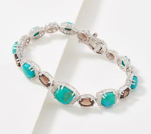 """Details about  /Generation Gem Sterling Silver Turquoise//Quartz Bracelet 6-3//4/"""" QVC 245.00"""