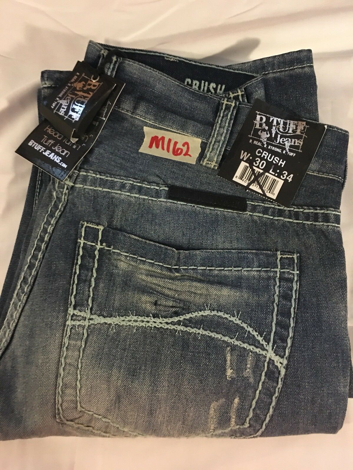 Mens New B Tuff 30X34 Crush Big Stitch Barbwire Crinkled Look Distressed Jeans