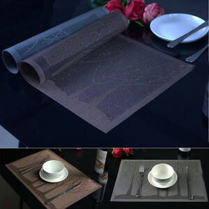 NEW-Pattern-Tree-PVC-Insulation-Bowl-Placemats-Dining-Pad-Western-Table-Mats