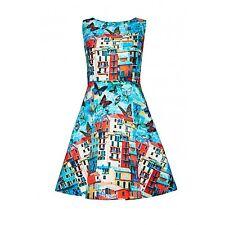 NWT $440 Alice + Olivia Blue Butterfly Paradise Italian Coastline Dress Size 6