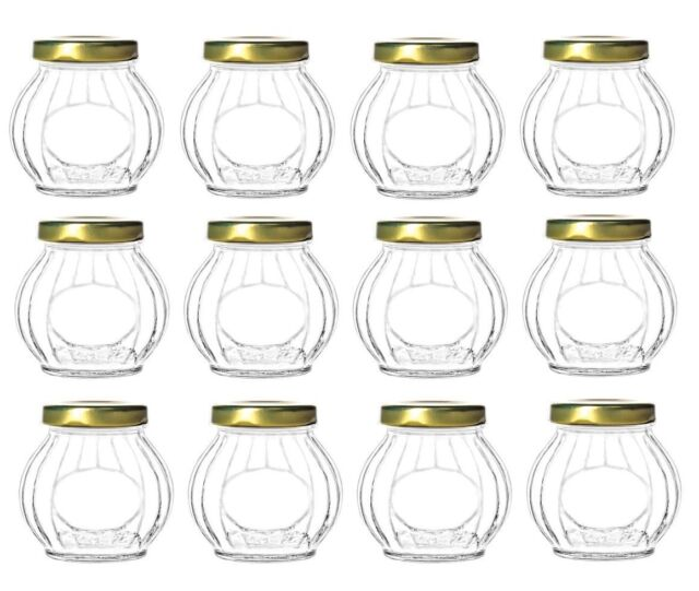 390dd4ee568b Nakpunar 12 pcs 10 oz Round Glass Jars with Gold Lids for Jam, Jellies,  Favors,