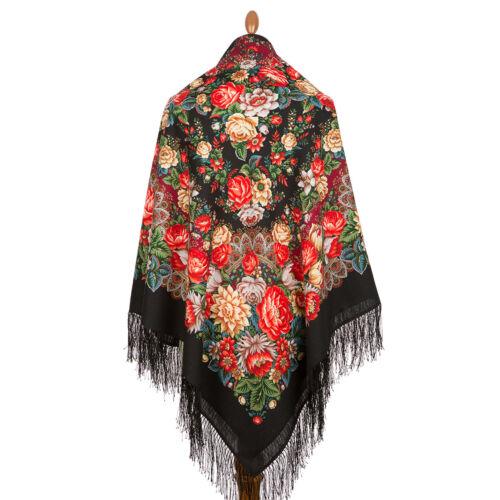 Pawlow Posad//Pavlovo Posad russischer Schal-Tuch Tradition146x146 Wolle 1797-18